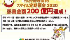特別優遇金利「スマイル定期預金2020」募集金額200億円達成